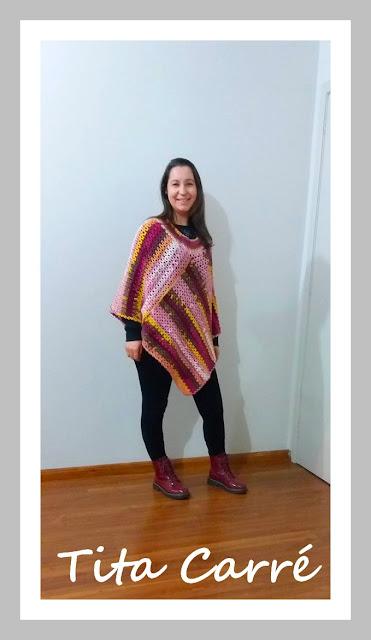Poncho Boho 2 em 1 em crochet