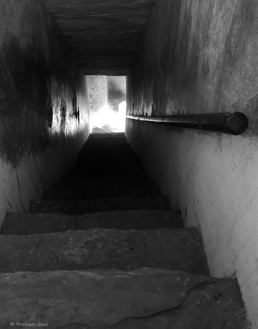 A Black and White Minimalist Photograph of a Staircase at Amber Fort Jaipur,  shot via Samsung S6 Smartphone Camera