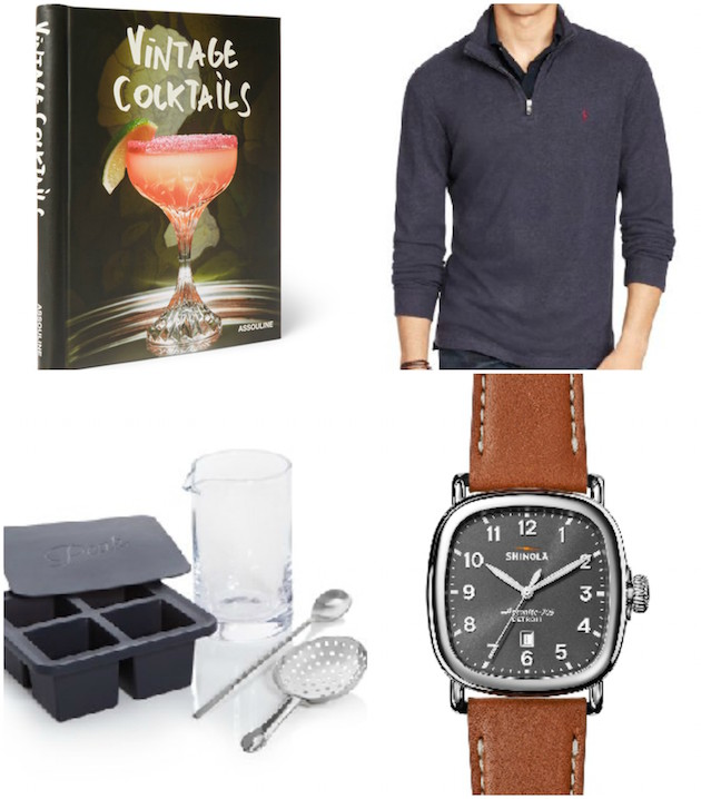 Gift picks- Cocktail recipe book, Polo sweater, Cocktail Kit, Shinola Watch