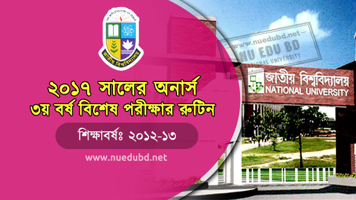 NU Honours 3rd Year Special Exam Routine 2017