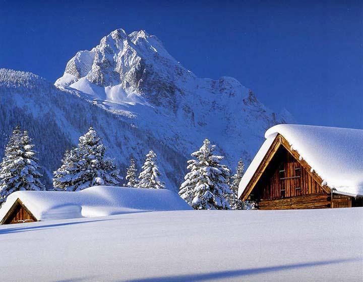 kış resimleri dağ evinde