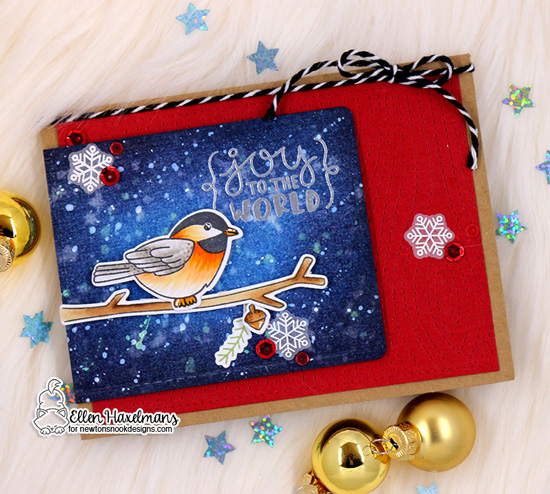 Christmas Chickadee Card by Ellen Haxelmans   Winter Birds and Ornamental Wishes Stamp Sets by Newton's Nook Designs #newtonsnook #handmade