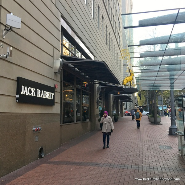 exterior of Jackrabbit restaurant at The Duniway Portland, a Hilton Hotel in Portland, Oregon