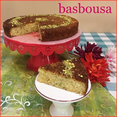 Pistachio Basbousa ( Semolina Cake )