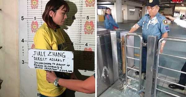 Chinese woman throws 'taho' at MRT cop who told her liquids are not allowed