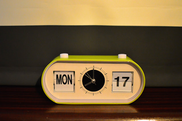 Retro flip alarm clock grey stripe blinds