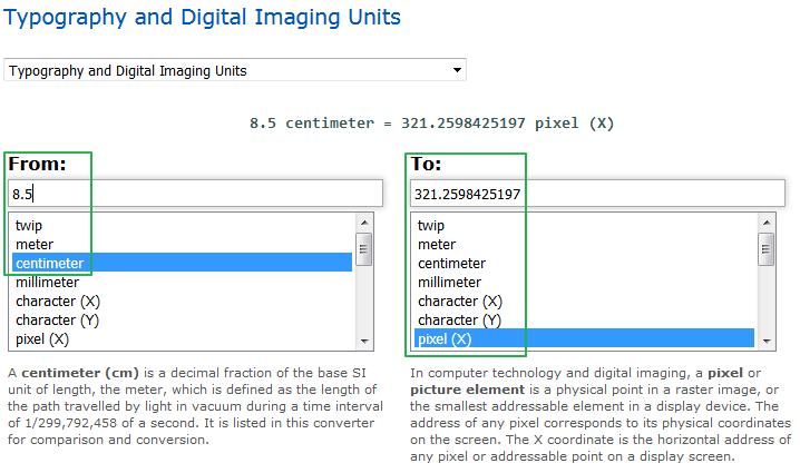 그림 이미지 단위 픽셀 (pixel 센티미터 cm 상호 변환하기