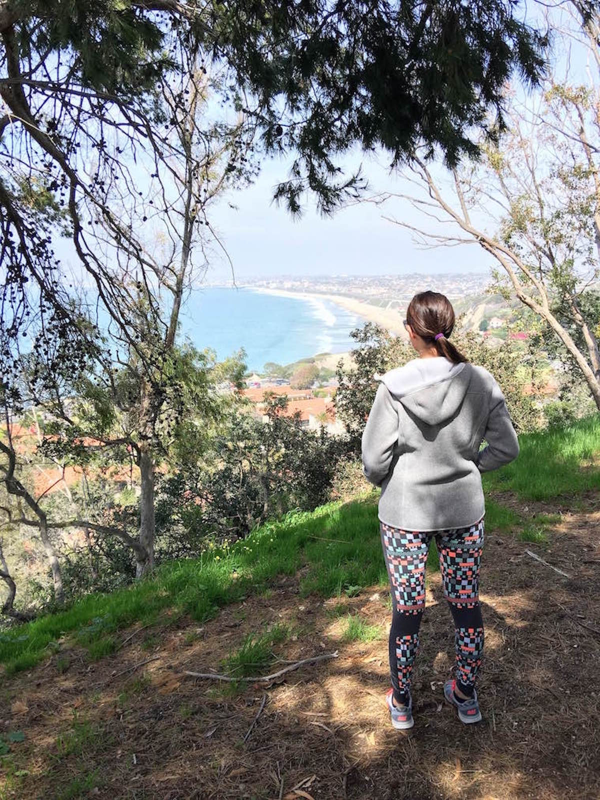 This is a photo of me standing on the edge of a hiking trail in Palos Verdes.