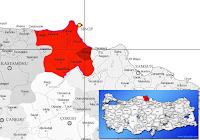 Dikmen ilçesinin nerede olduğunu gösteren harita.