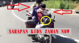 VIRAL! Video Siswa SD Dibonceng Menghadap ke Belakang Sambil Makan, Sarapan Ala Kids Zaman Now