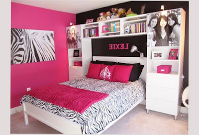 Image of Bedroom Designs For Teen Girls With Giraffe Themes and Cupboard and Shelves