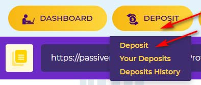 Создание депозита в Passive Revenue Share LTD