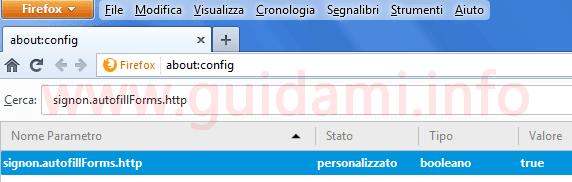 Firefox parametro aboutconfig per attivare compilamento automatico dati login