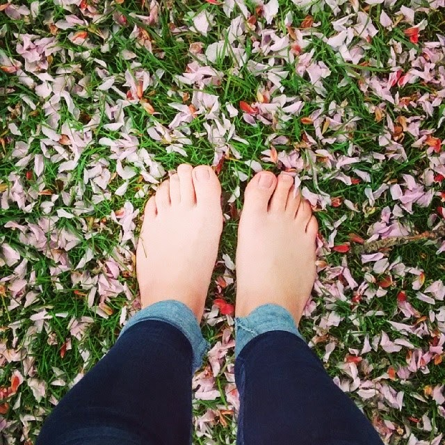 barefeet and flowers