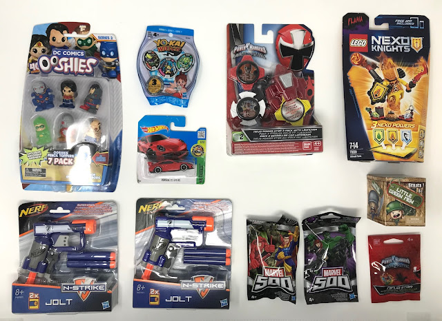 DC Comics Ooshies Pencil Toppers 7 pack, 2 x Nerf N-Strike Jolt, Marvel 500 blind bag series 6, Marvel 500 blind bag series 7, Hot Wheels Porche 911 GT3 RS, YO-KAI Watch blind bag, Power Rangers Ninja Power Star 2 Pack with Launcher ,Power Rangers Ninja Star blind bag, Little Green Men Blind bag, Flama Nexo Knights