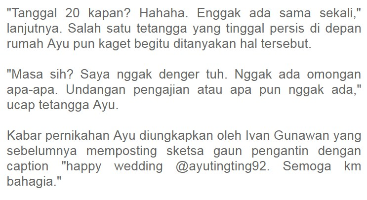 Paling Heboh, Berita Ayu Dikabarkan Menikah, Ketua RT Malah Bongkar Fakta Apa Yang Terjadi di ...