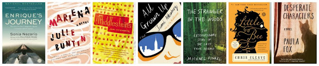 a collage of book covers of seven books: Enrique's Journey, Marlena, The Middlesteins, All Grown Up, Stranger in the Woods, Little Bee and Desperate Characters