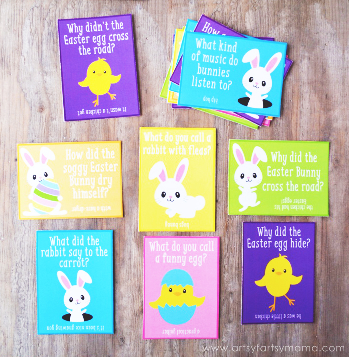 Free Printable Easter Lunch Box Jokes at artsyfartsymama.com