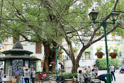 Lilau square, a shaded square or park features fountain, greenery, trees and a great view of Macau