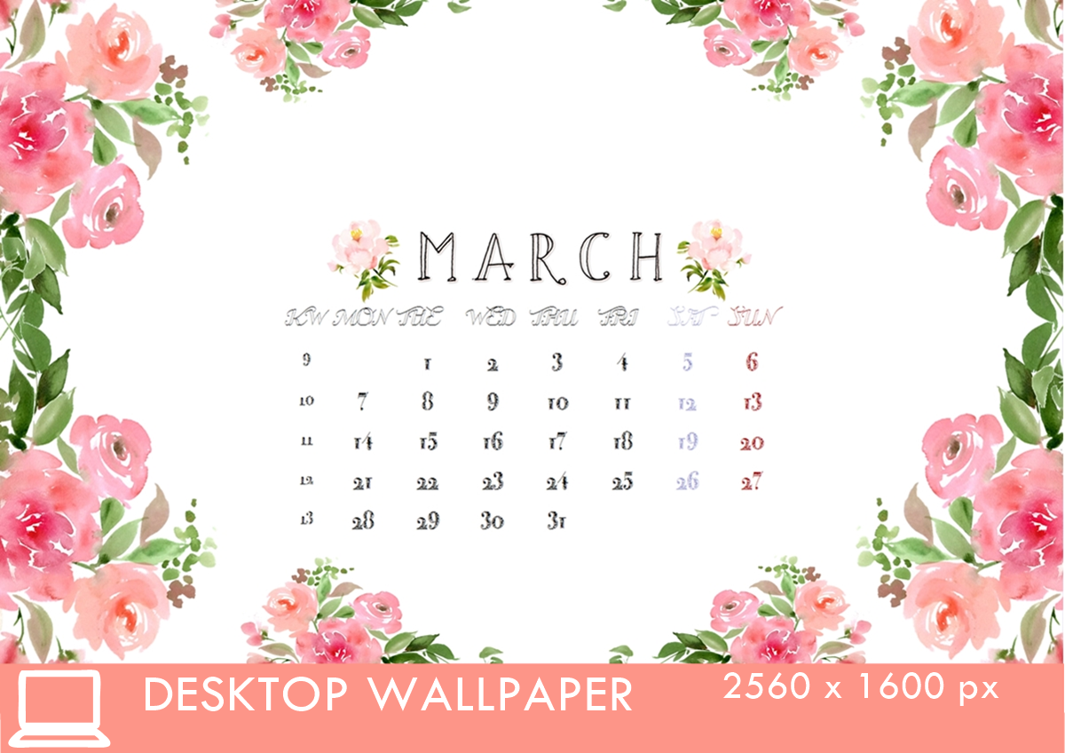 Desktop Calendar 3 March 16 2560x1600px