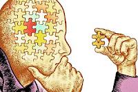 Kafası bir yapbozdan oluşan bir adamı elindeki tek bir yapboz parçasına bakarak düşünmesini resmeden bir çizim