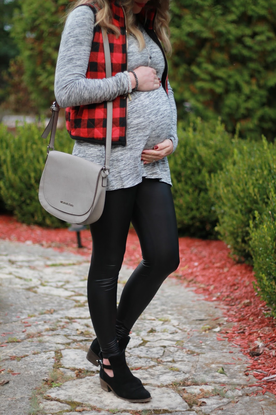 grey tunic, red plaid vest, leather leggings, black booties, fall maternity outfit