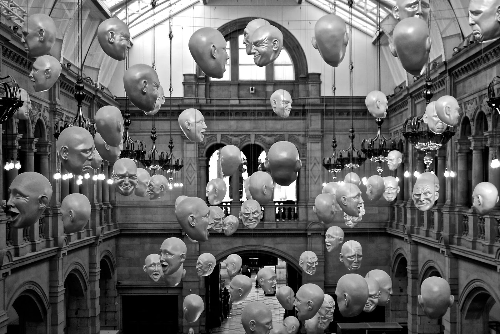Floating heads in the Kelvingrove Museum, Glasgow, Scotland