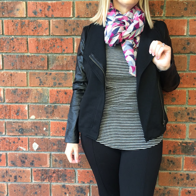 Katies PU Jacket, striped tee | Almost Posh