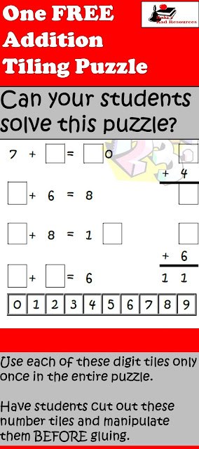 Free addition tiling puzzle to help your students work on math facts and critical thinking at the same time - free download from Raki's Rad Resources