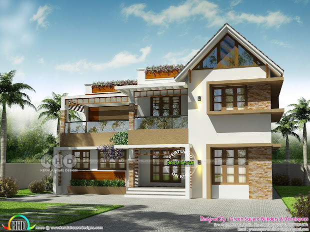 2260 Square Feet Mixed Roof 4 Bedroom House - Kerala Home