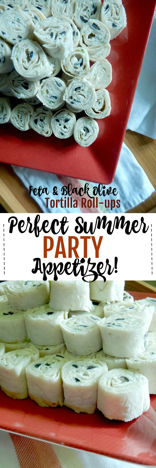 Feta and Black Olive Tortilla Roll-ups...an appetizer and party hit!  Tangy, creamy, cheesy and full of flavor.  Bet you can't eat just one! (sweetandsavoryfood.com)