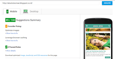 PageSpeed Tools Kecepatan untuk Mobile