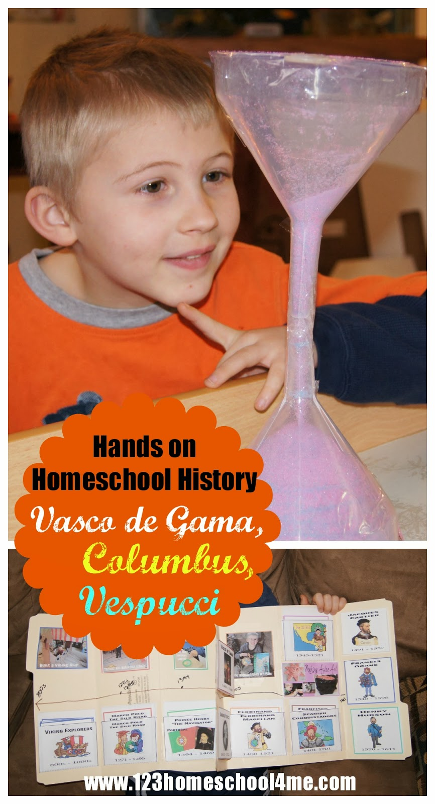 Fun, hands on history activities for homeschool, preschool, kindergarten, first grade, 2nd grade, 3rd grade, 4th garde, 5th grade, and 6th grade students to learn about famous explorers - Vaco de Gama, Columbus, and Vespucci for Kids
