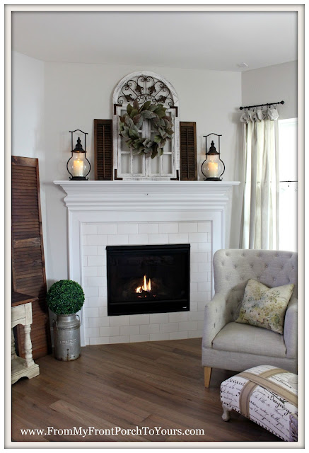 Sherwin Williams Agreeable Gray-Magnolia Wreath-french farmhouse fireplace mantel-vintage style-from my front porch to yours