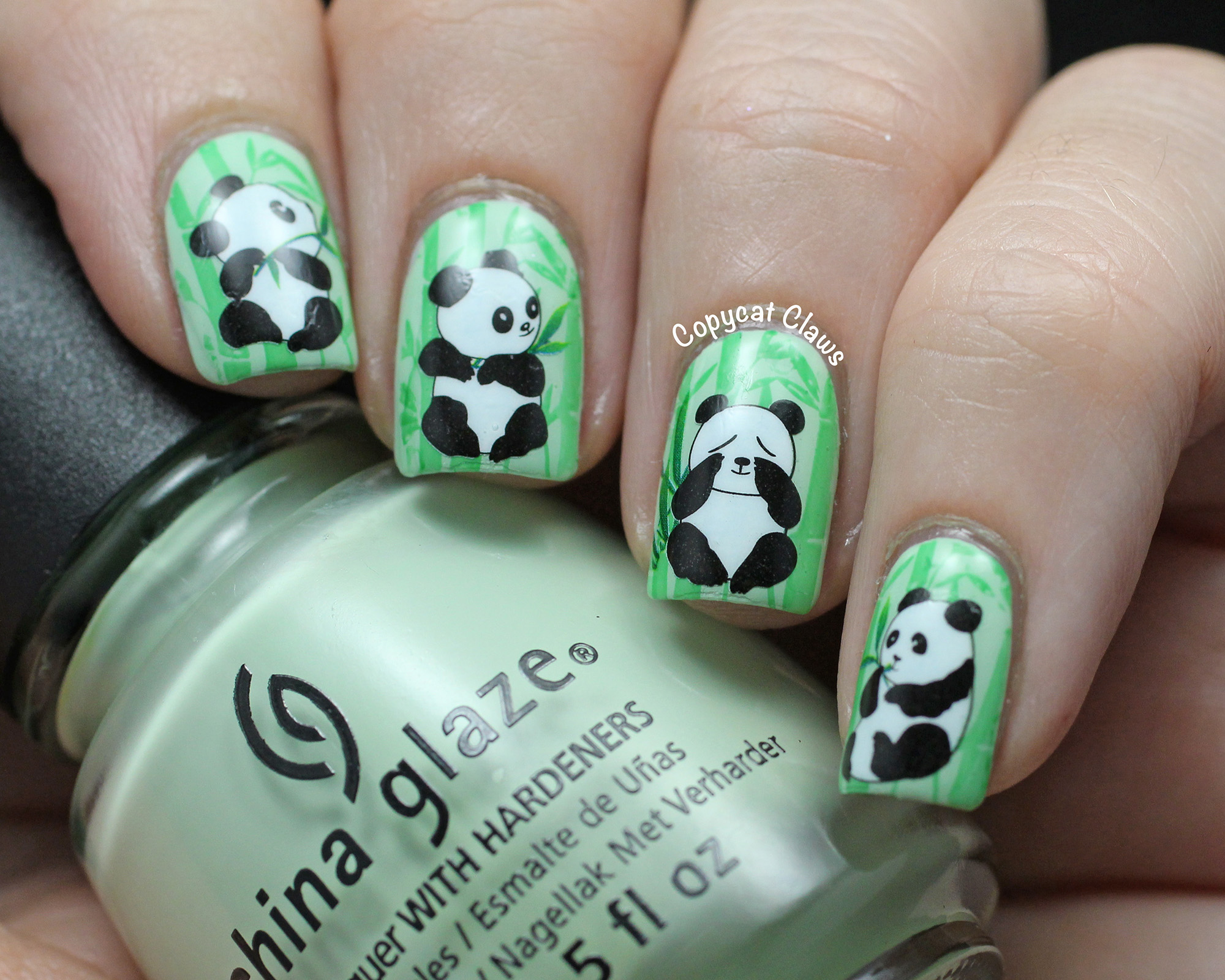 Fantástico Diseño De Uñas Oso Panda Friso - Ideas Para Pintar Uñas ...