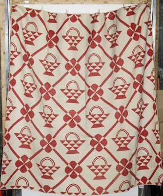 Red and White Basket Quilt