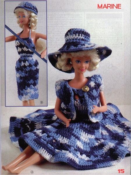 Gráfico de crochê  vestido, bolero e chapeu para bonecas Barbie
