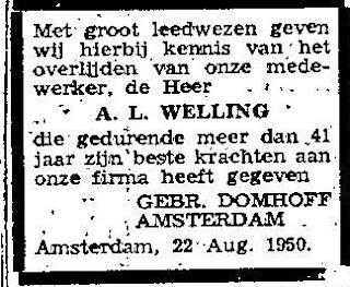 Overlijden van Leo Welling, 1950