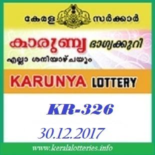 KARUNYA(KR-326) LOTTERY RESULT ON DECEMBER 30, 2017