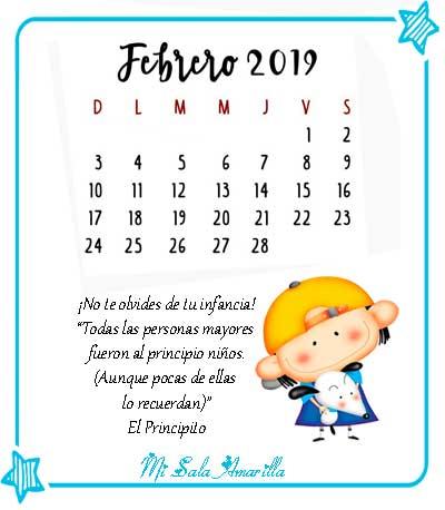 Febrero 2019 Calendario.Mi Sala Amarilla Calendario De Febrero 2019 Con Efemerides