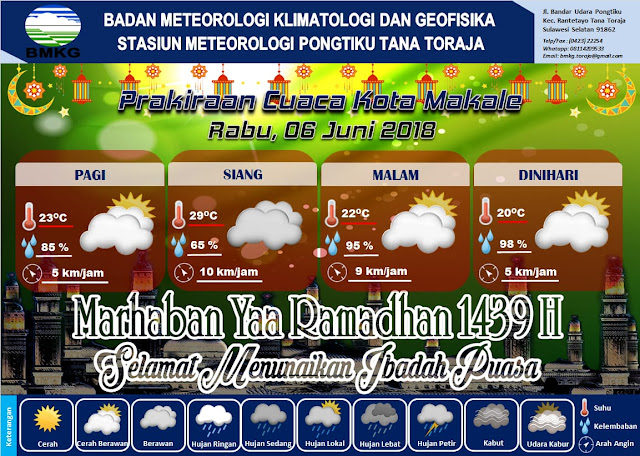 BMKG : Awan Tebal Pada Siang Hari, Akan Berada di Wilayah Tana Toraja dan Toraja Utara
