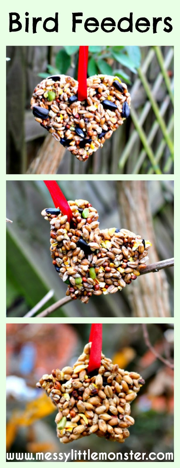 How to make homemade bird feeders. These easy diy bird feeders for kids to make are made using just 3 ingredients and a cookie cutter. This homemade bird food would be a great homemade gift that kids can make or a fun outdoor nature activity.