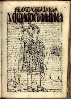 Inca Huiracocha, octavo inca, dibujo de Felipe Guamán Poma de Ayala