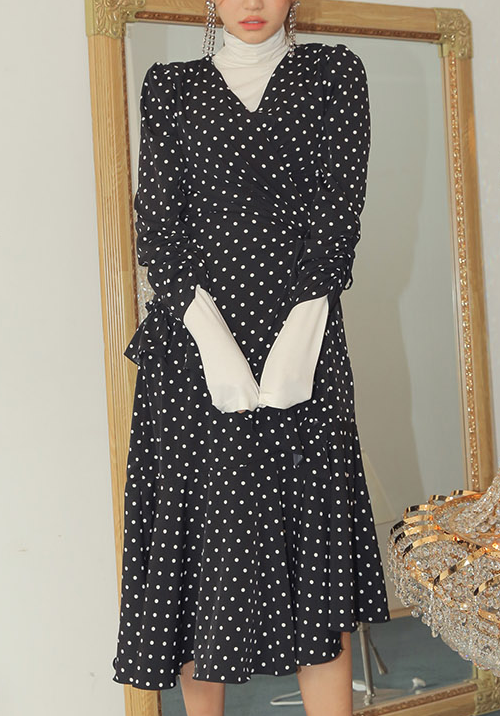 Polka Dot Print Wrap Dress