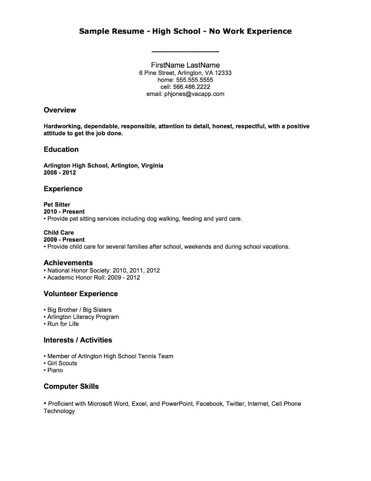 sample first resume html - Inexperienced Resume Examples