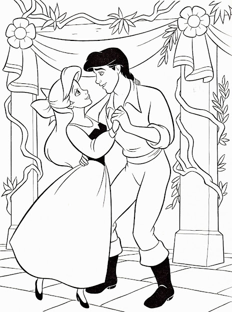 Walt Disney Coloring Page Of Princess Ariel And Prince Eric From The  Little Mermaid Hd Wallpaper And Background Photos Of Walt Disney Coloring  Pages