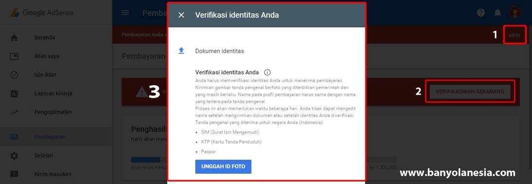Verifikasi Adsense dengan kartu identitas