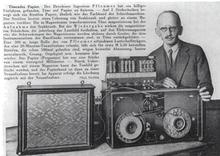 Fritz Pfleumer, dengan mesin magnetic tape-nya (1931)