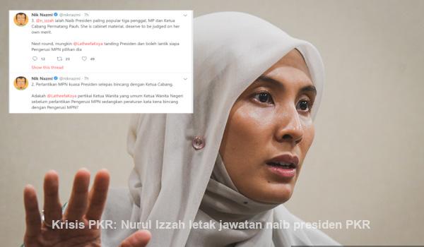 Krisis PKR: Nurul Izzah letak jawatan naib presiden PKR