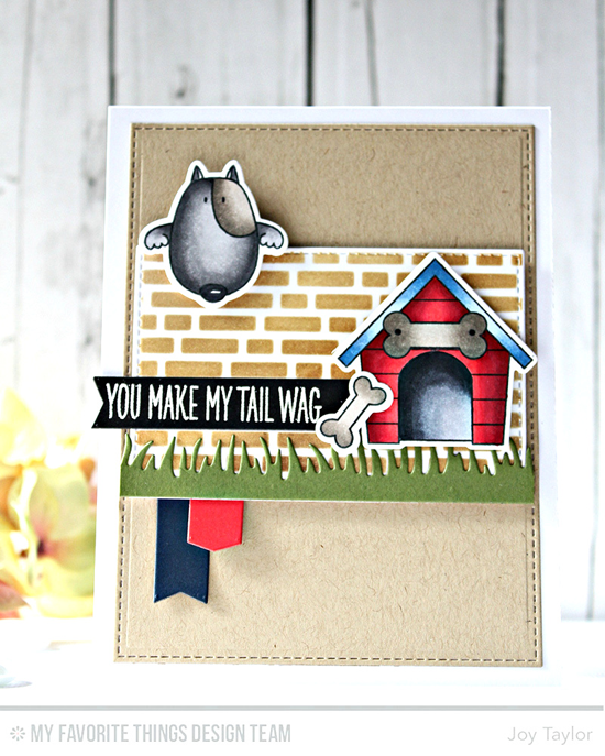 Handmade card from Joy Taylor featuring Birdie Brown You Make My Tail Wag stamp set and Die-namics, Fresh Cut Grass, Stitched Rectangle STAX, Blueprints 16 and Blueprints 24 Die-namics, and English Brick Wall stencil #mftstamps
